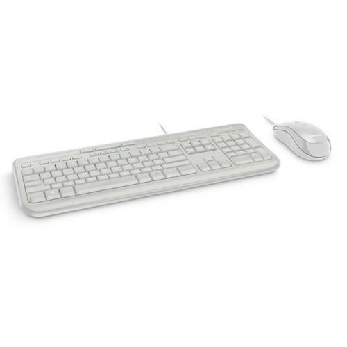 microsoft wired 600 desktop keyboard mouse white carbil computers. Black Bedroom Furniture Sets. Home Design Ideas